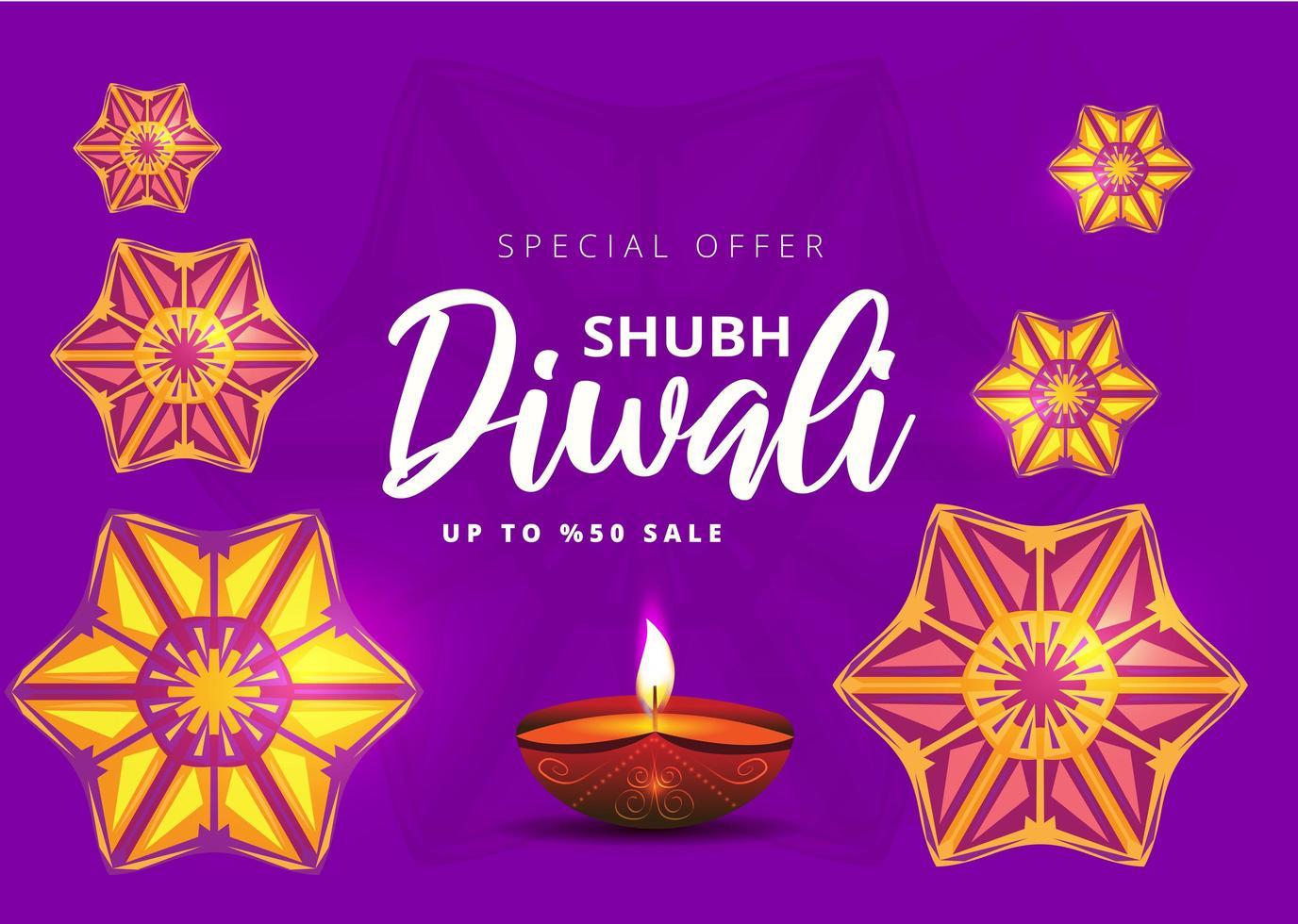 gelukkige diwali festival verkoop banner met olielamp en rangoli vector