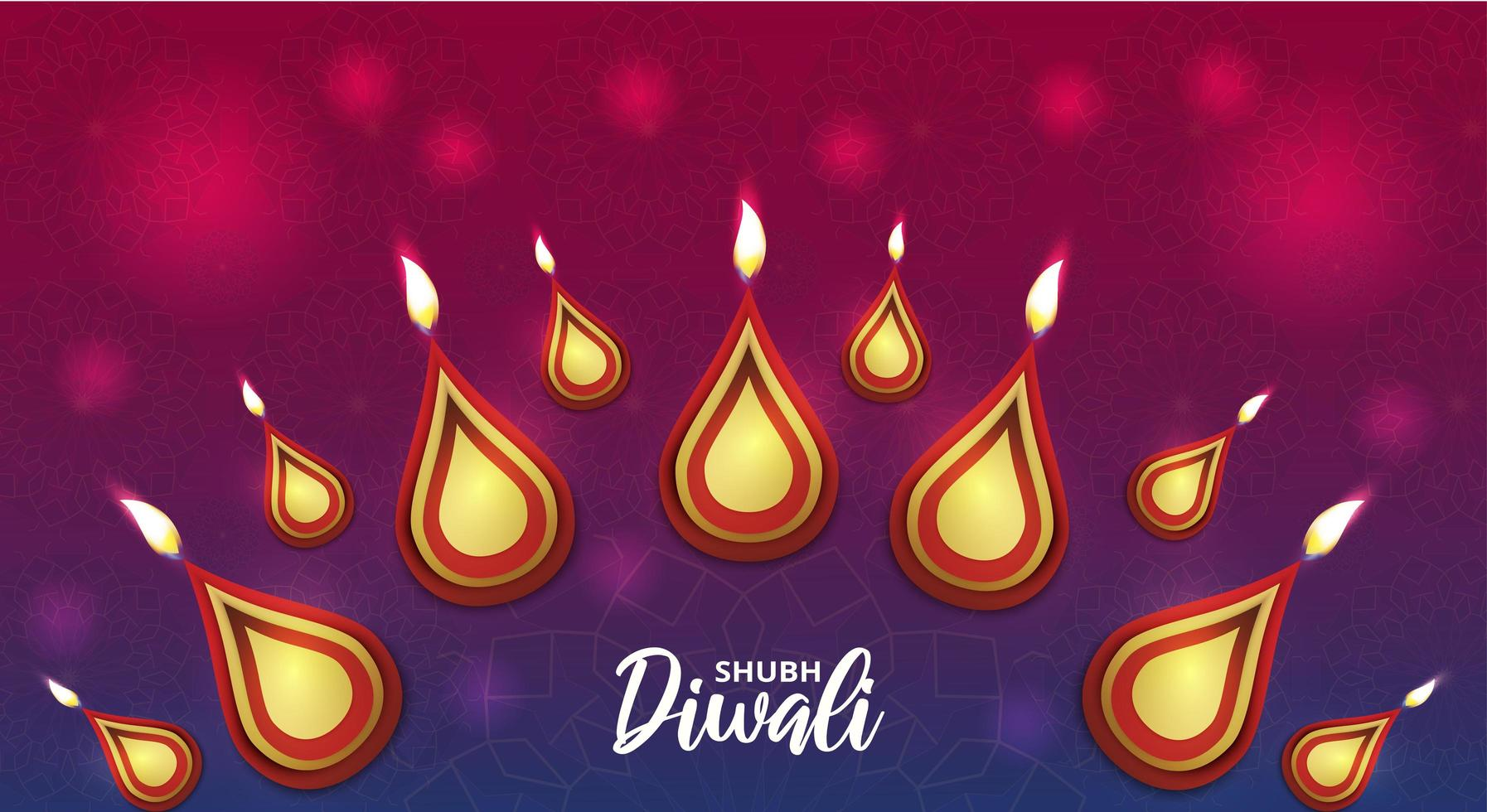 gelukkige diwali-poster met Indiase rangoli en bokeh vector