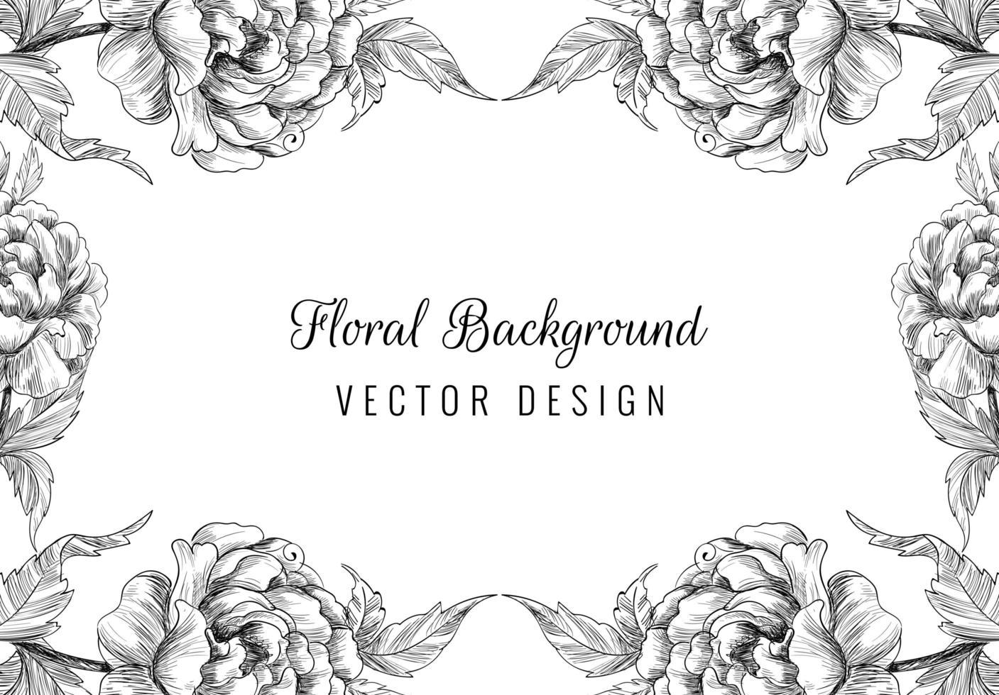 mooie hand getrokken bruiloft ornament bloemen frame vector