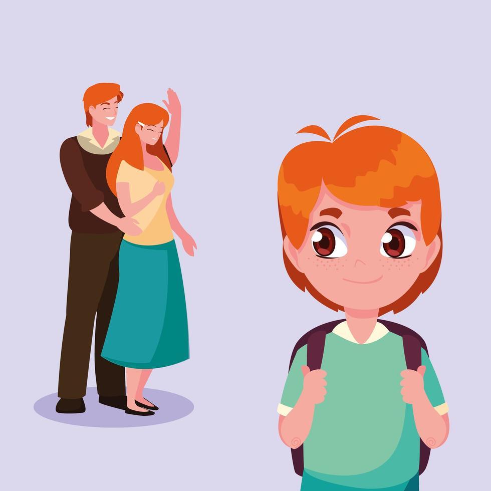 schattige kleine student jongen met ouders vector
