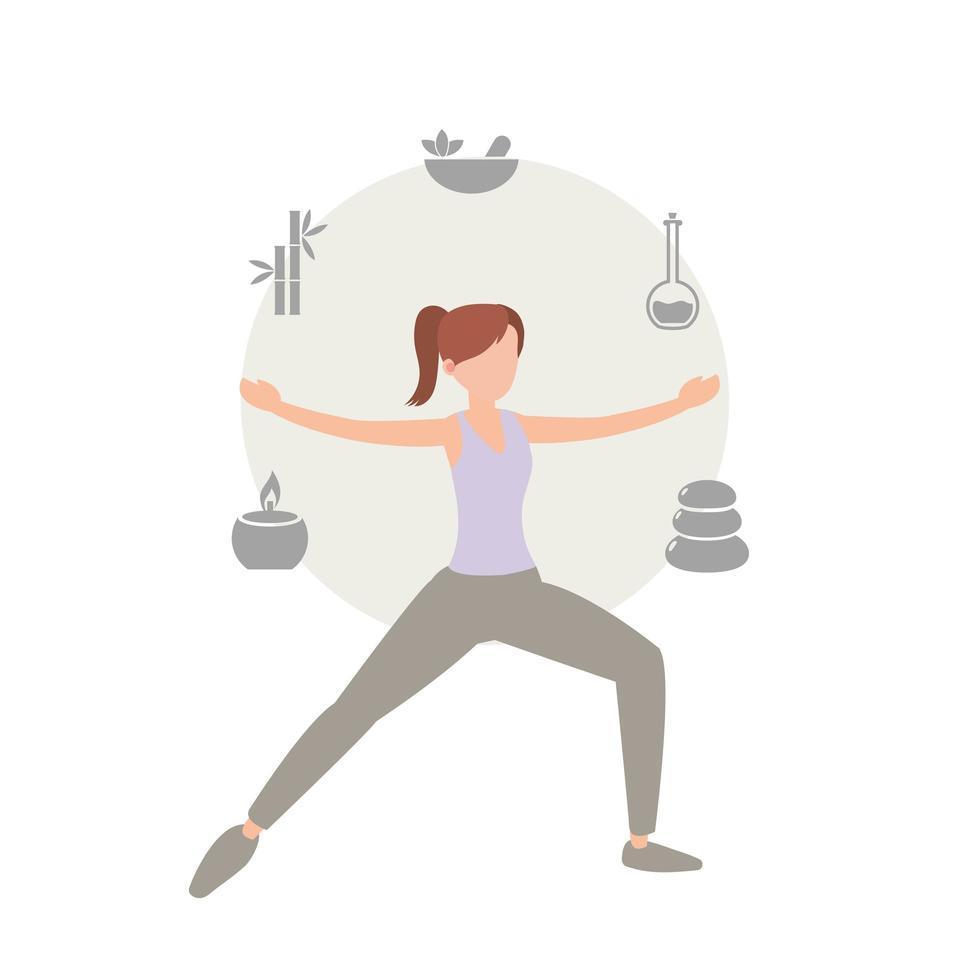 gezonde vrouw uitoefenen en yoga doen vector