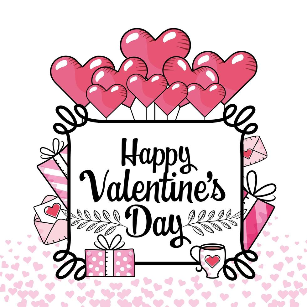 frame met hartjes, ballonnen en geschenkverpakking voor Valentijnsdag vector