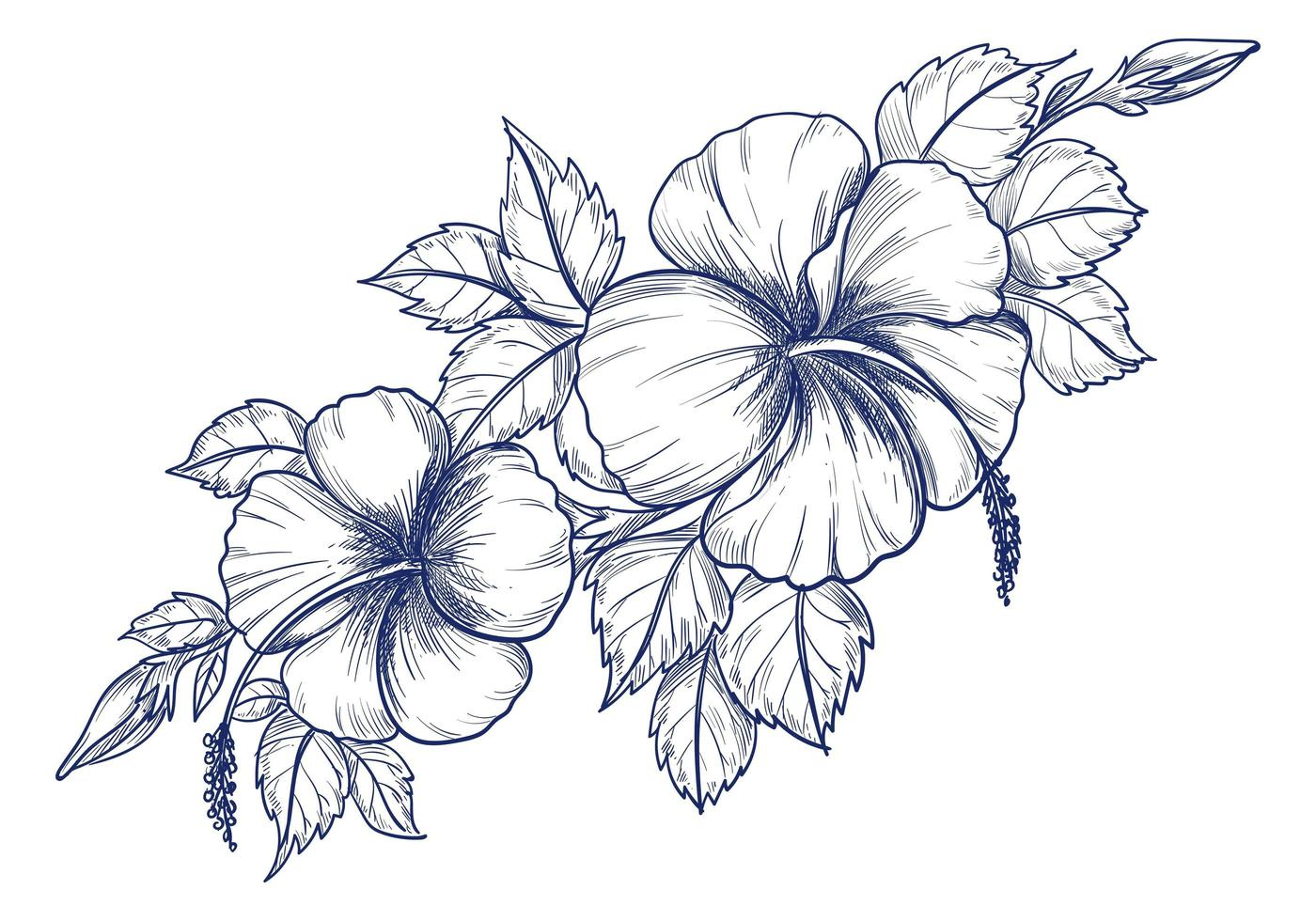 hand tekenen bloem vector