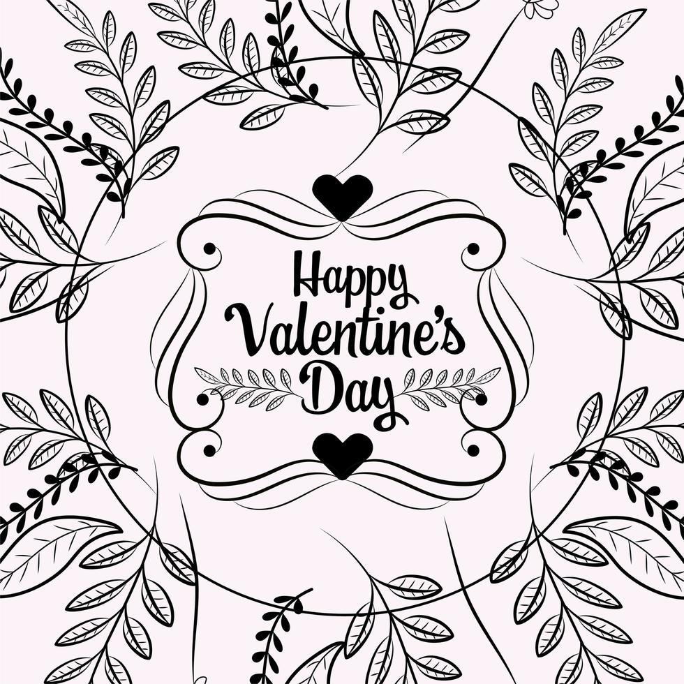 harten en gebladerte Valentijnsdag kaart vector
