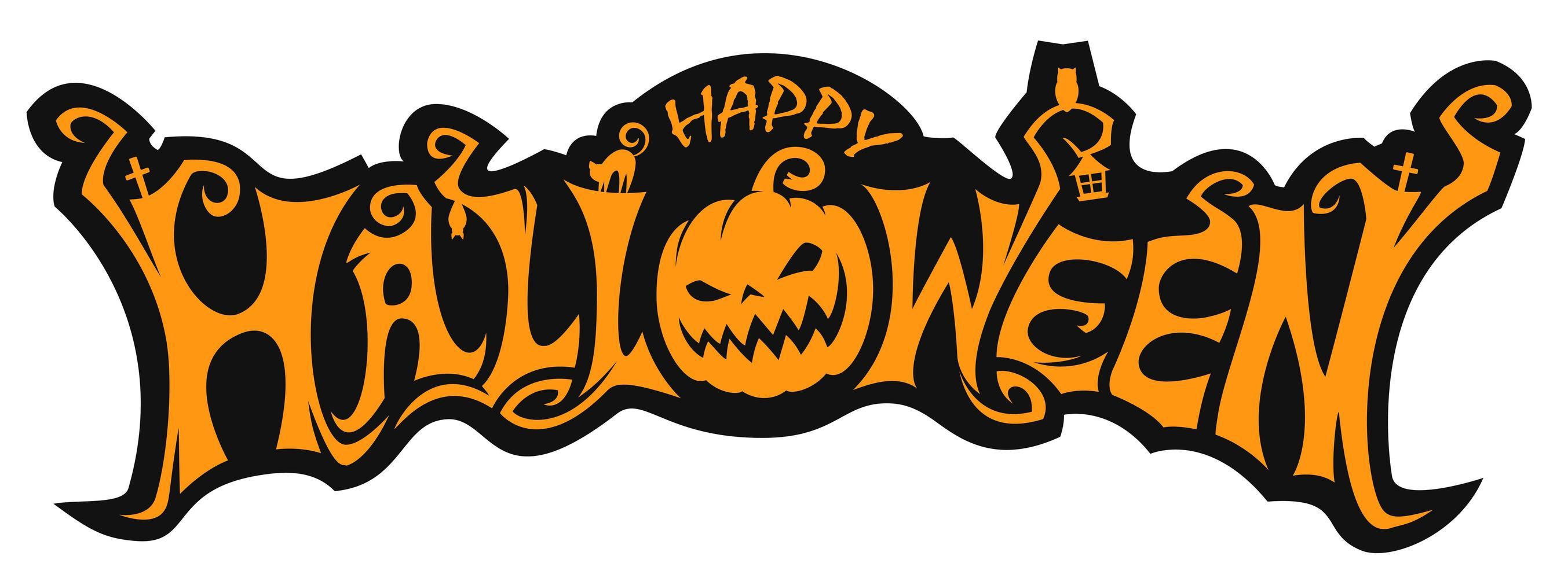 happy halloween pompoen belettering ontwerp vector