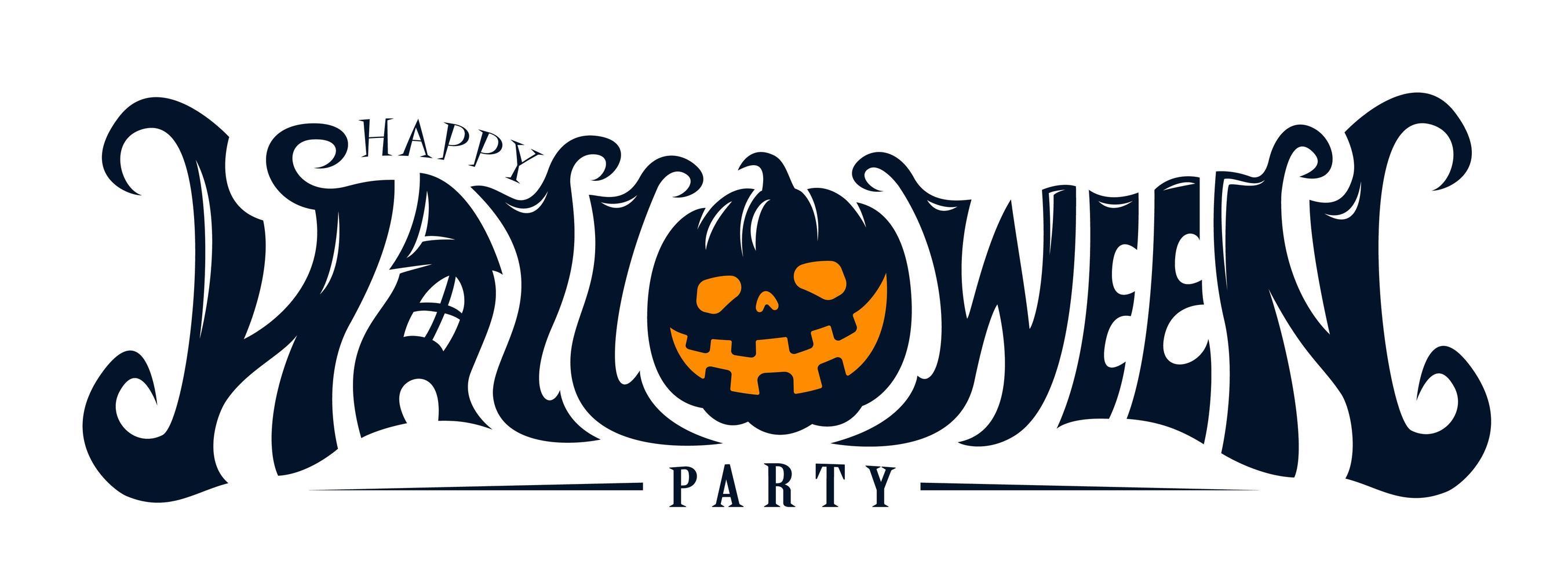 happy halloween party tekstontwerp vector