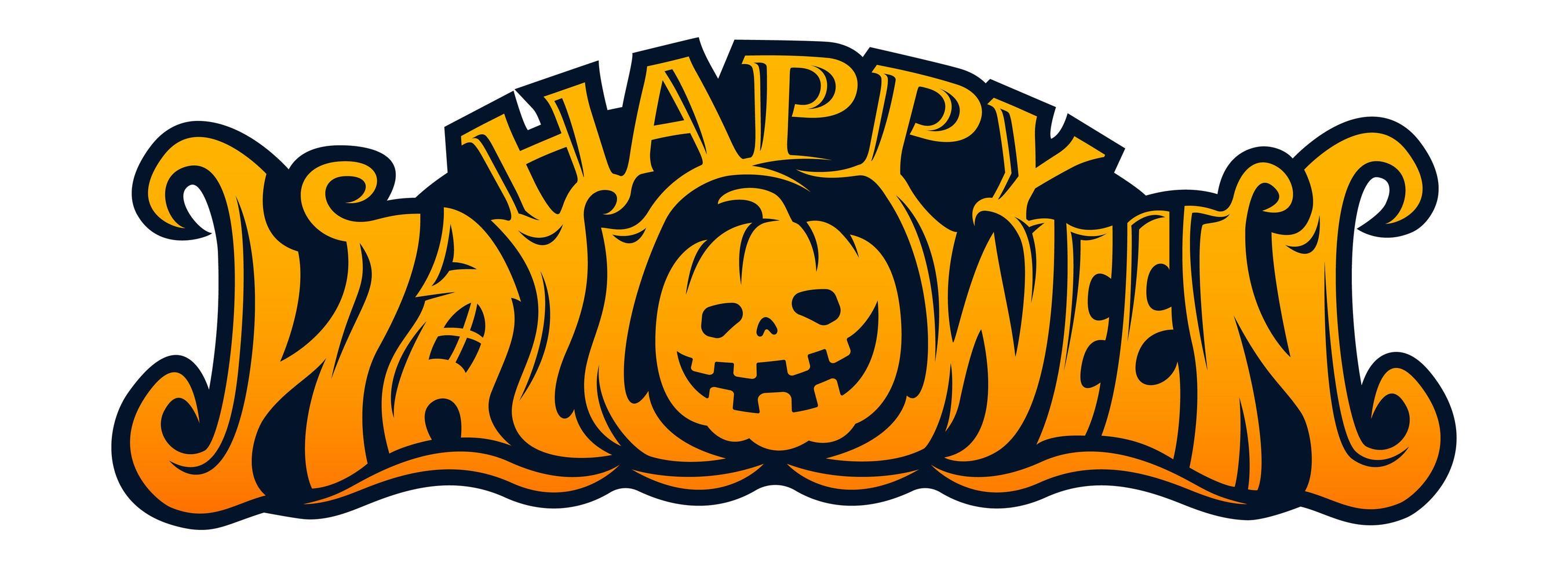 happy halloween pompoen hoofd tekstontwerp vector