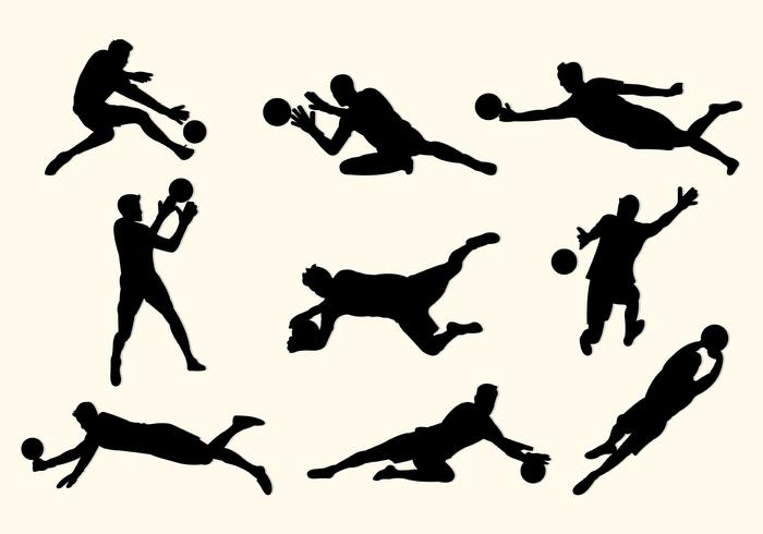 Set Silhouettes Goal Keeper vector