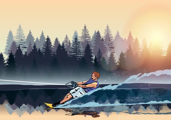 Jonge Man Water Skiing Vector