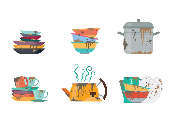 Gratis Dirty Dishes Pictogrammen Vector