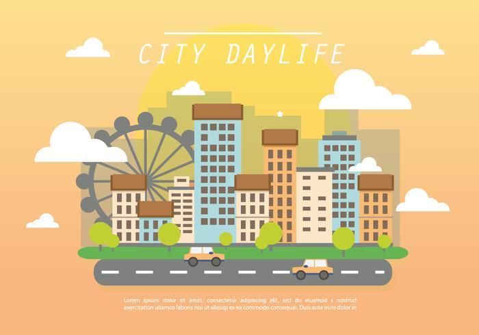 Flat City Daylife Vector Achtergrond