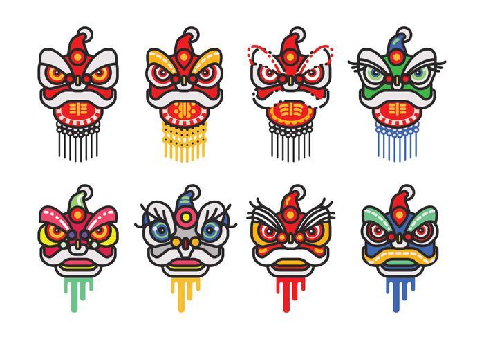 Chinese Nieuwjaar Lion Dance Head Minimalistische Flat Vector Icon Set