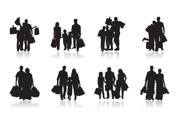 Gratis Familie Winkelen Silhouet Vector