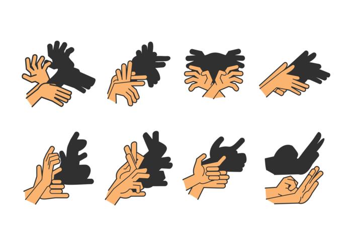 Set Shadow Hand Puppet vector