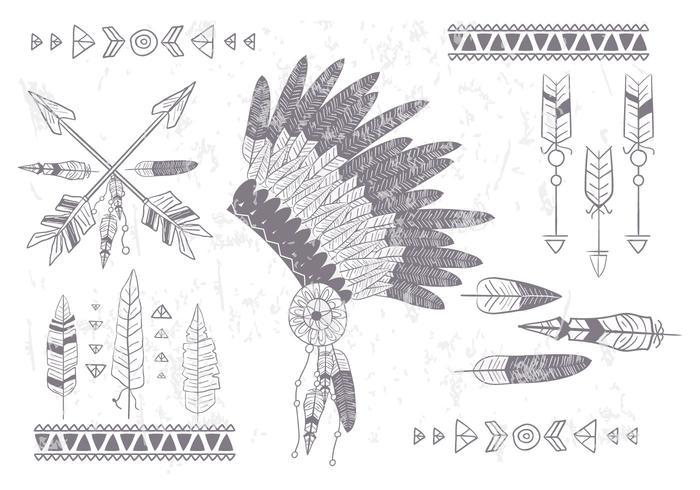 Boho Inheemse Vector Set