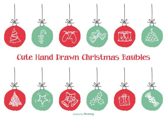 Leuke Hand Getekende Stijl Kerstmis Snuisterijen vector