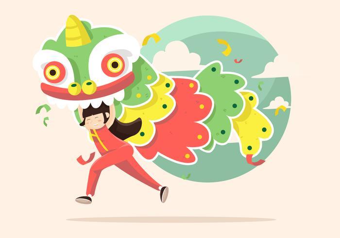 Lion Dance Vector Illustratie