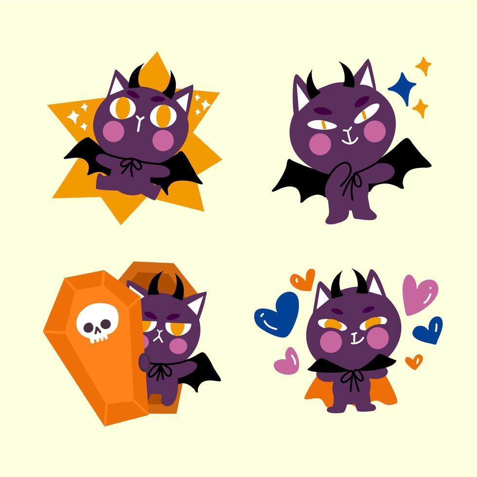 levendige kleine dracula kat doodle tekenset vector