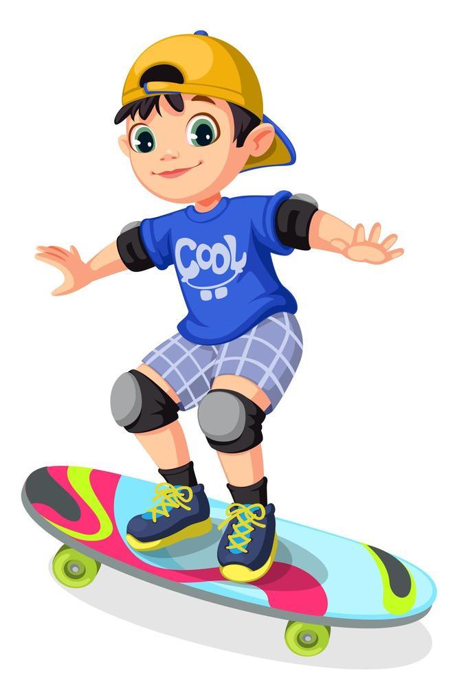 coole jongen op skateboard vector