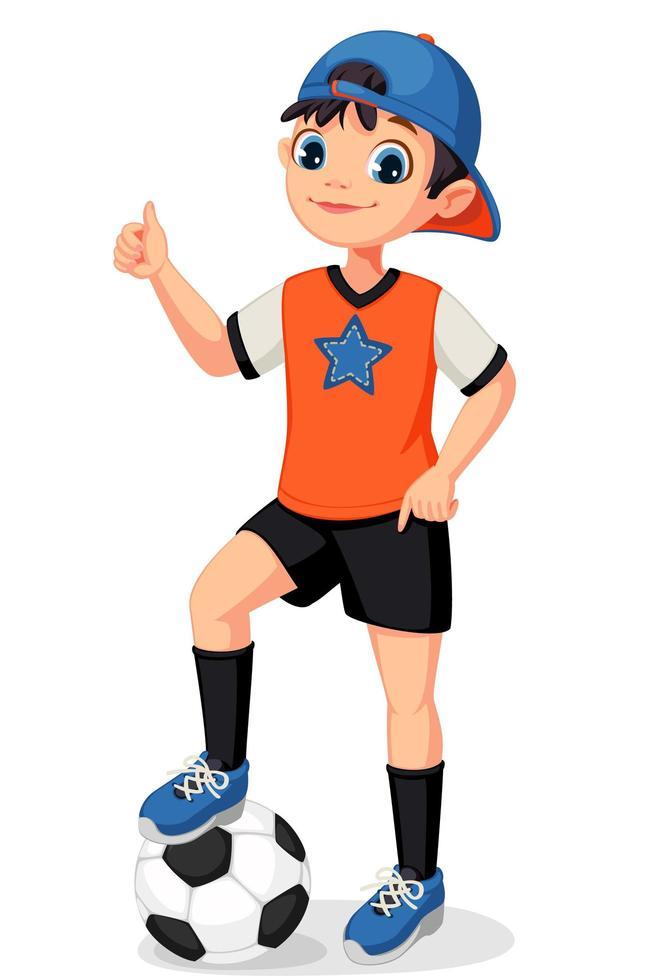 jonge voetballerjongen vector