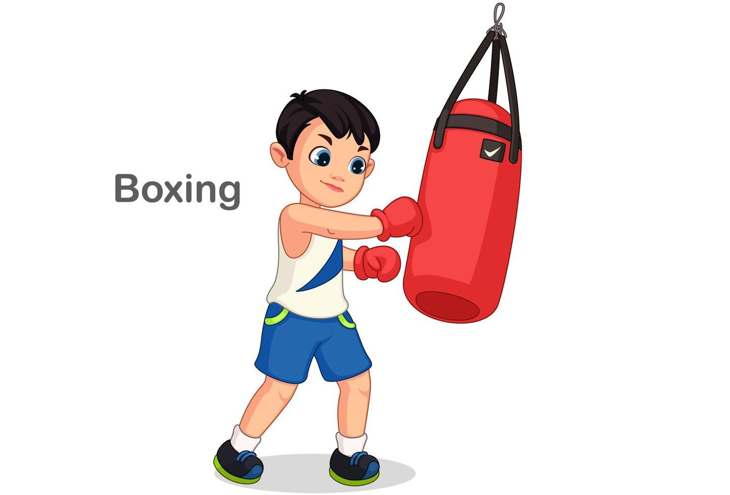 boksjongen met bokszak vector