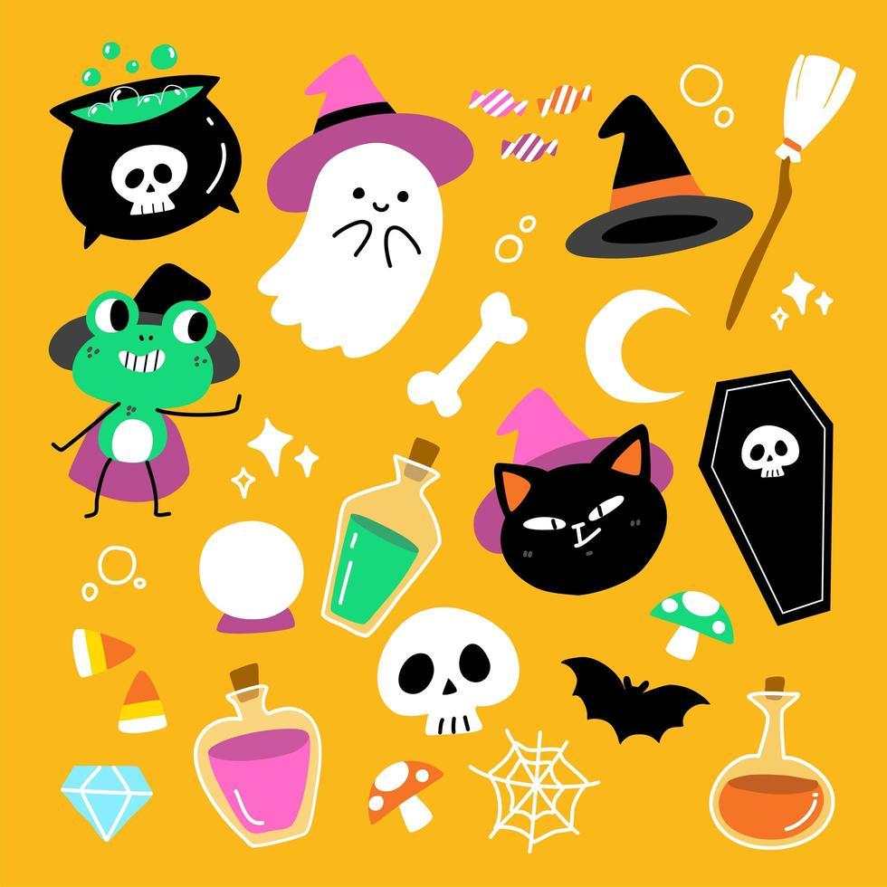 schattige enge halloween-tekenset vector