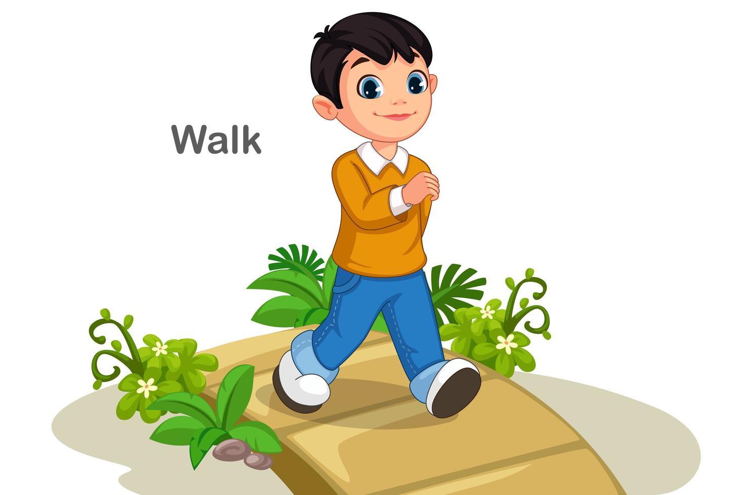 schattige jongen lopen op het pad vector