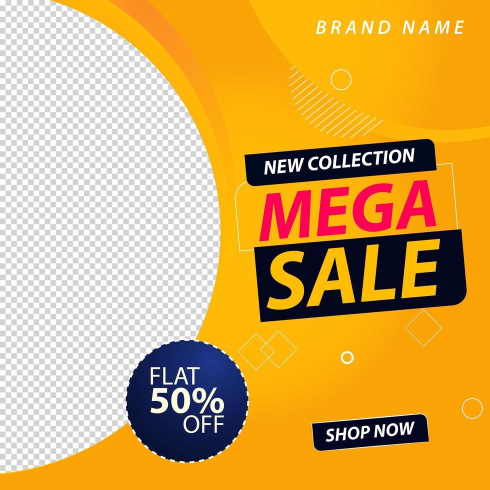 mega-verkoop promotionele sociale media-banner vector