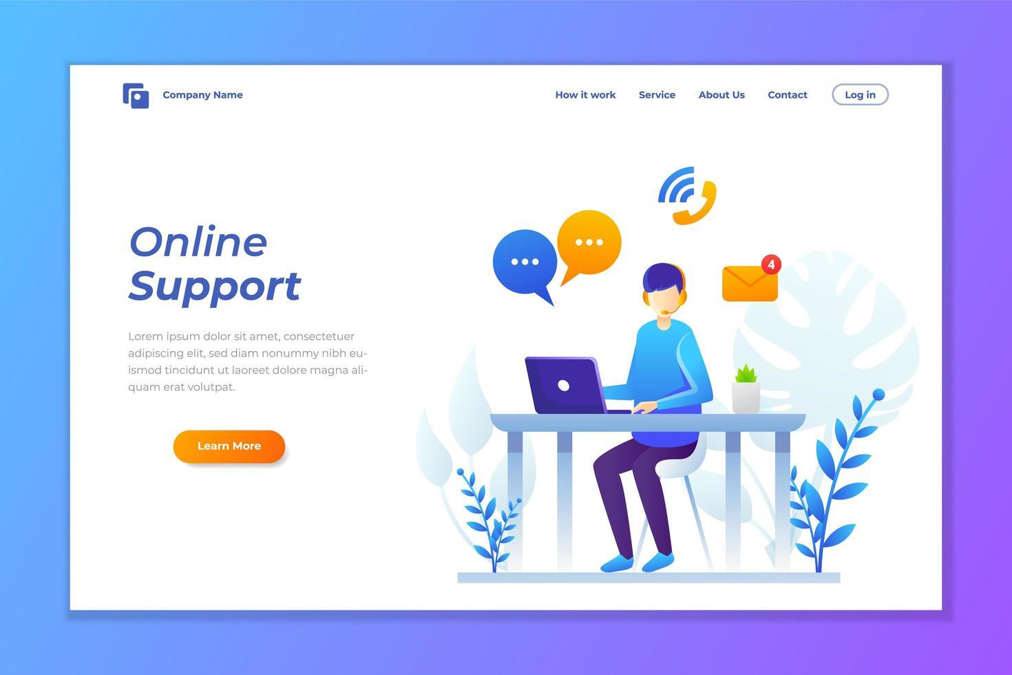 bestemmingspagina voor online ondersteuning van klantenservice vector