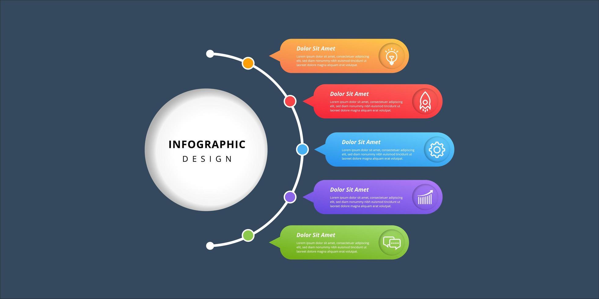 kleurrijke label infographic ontwerpelementen vector