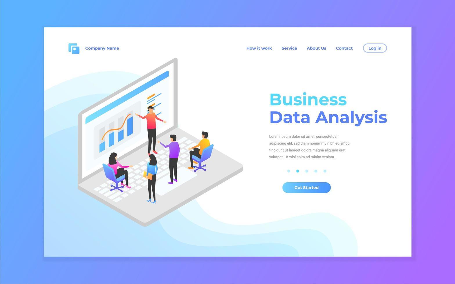 bestemmingspagina-banner voor gegevensanalyse vector