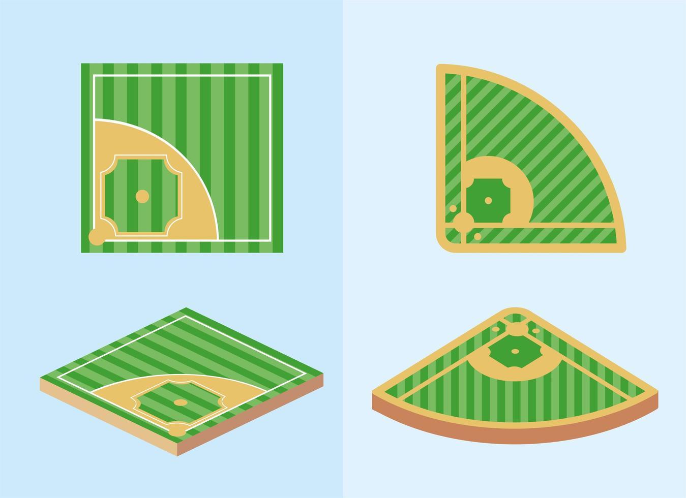 set honkbalvelden vector