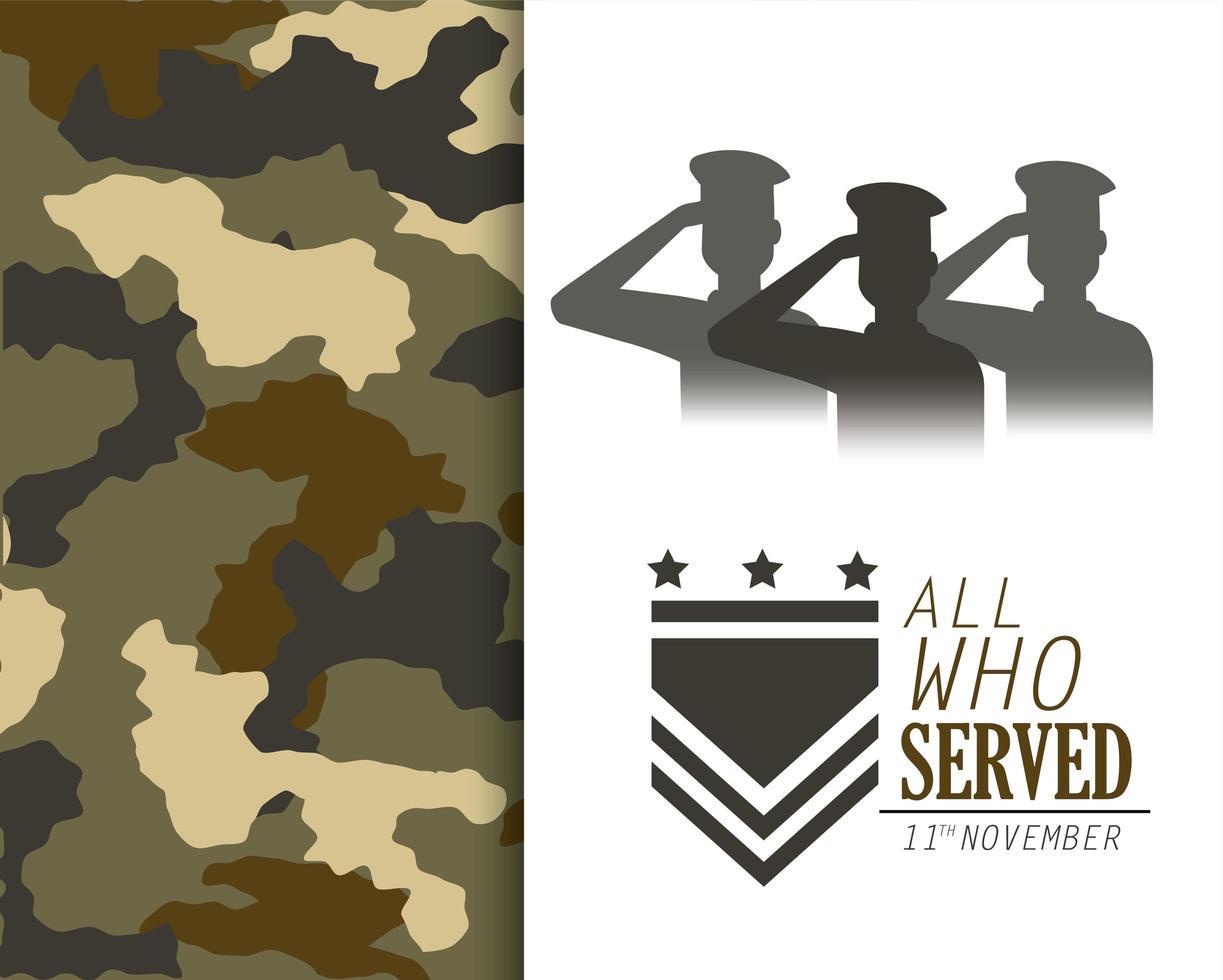 veteranen dag viering kaart vector