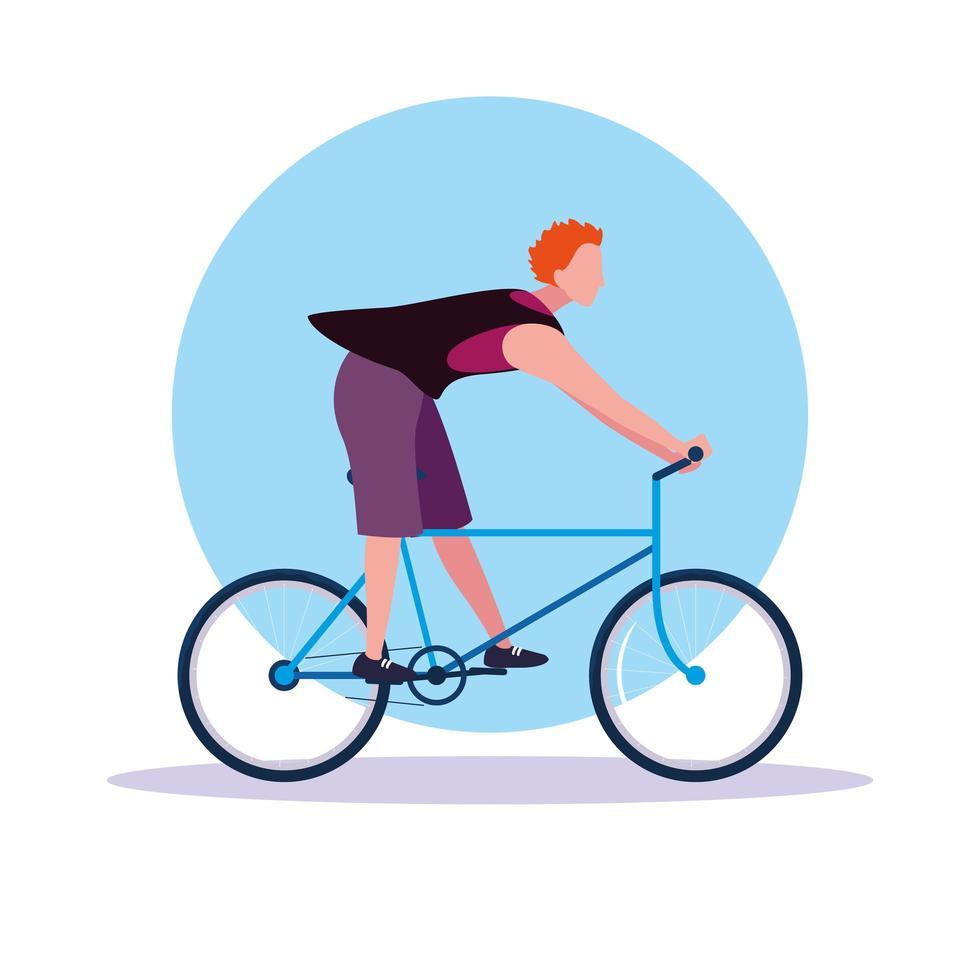 jonge man rijden fiets avatar karakter vector