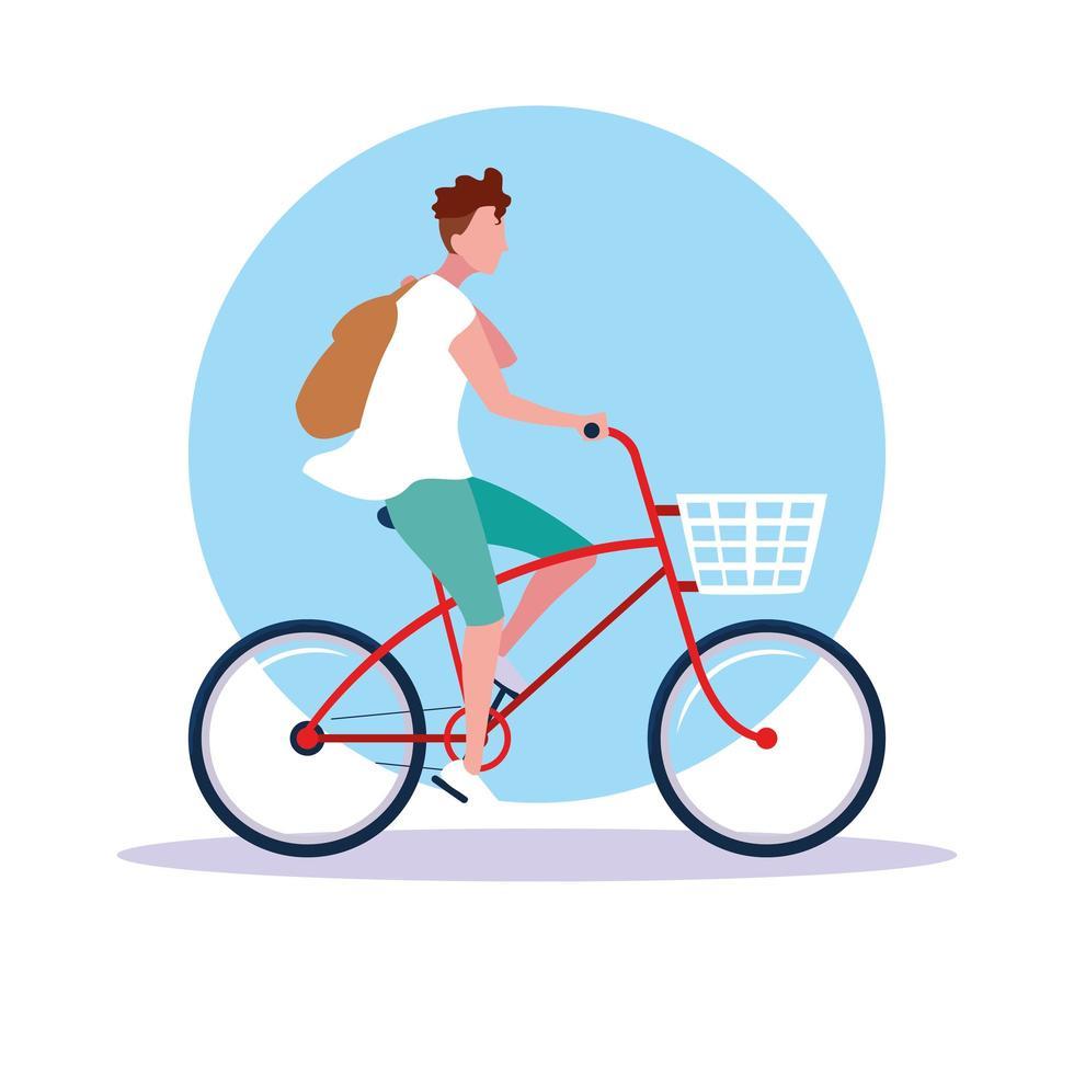 jong rijden fiets avatar karakter vector