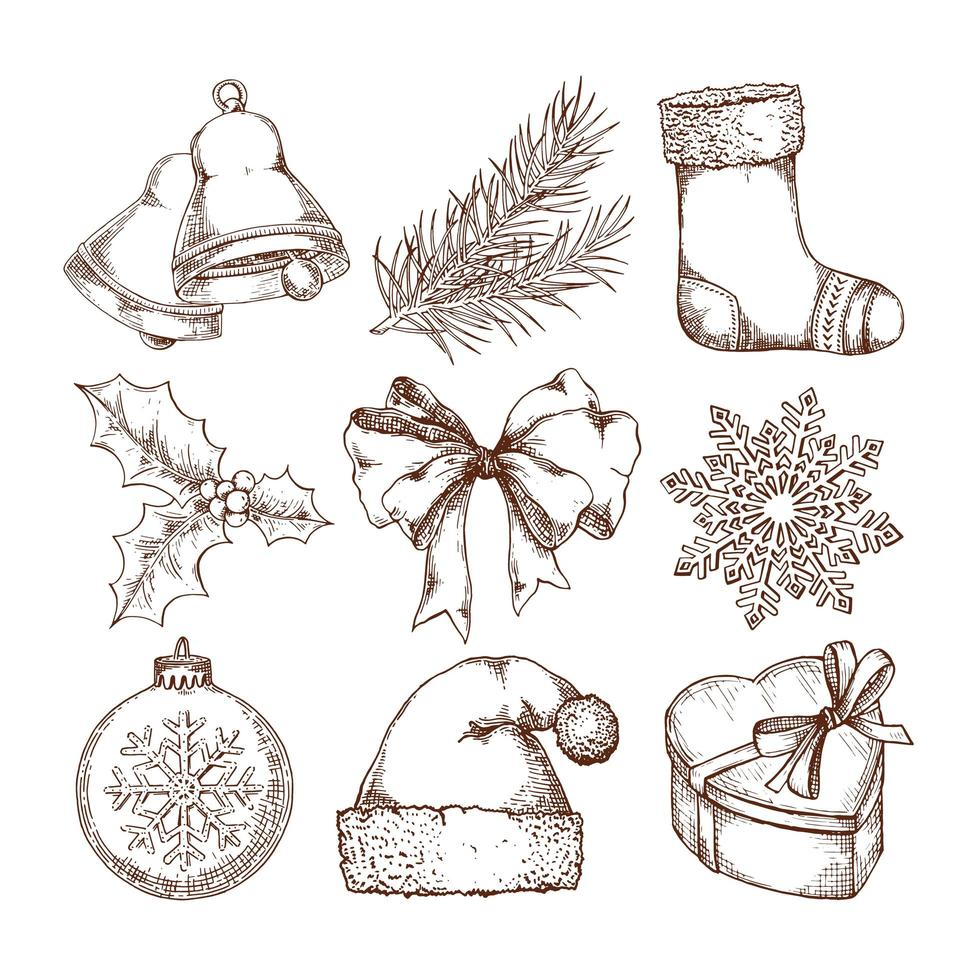 Kerst iconen set vector