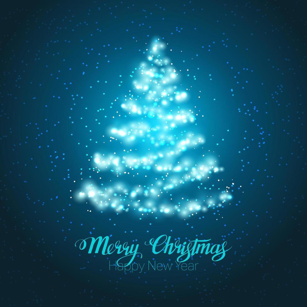 kerstboom schijnt kaart vector
