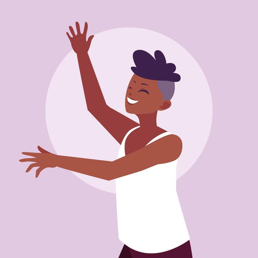 jonge afro man gelukkig vieren met handen omhoog vector
