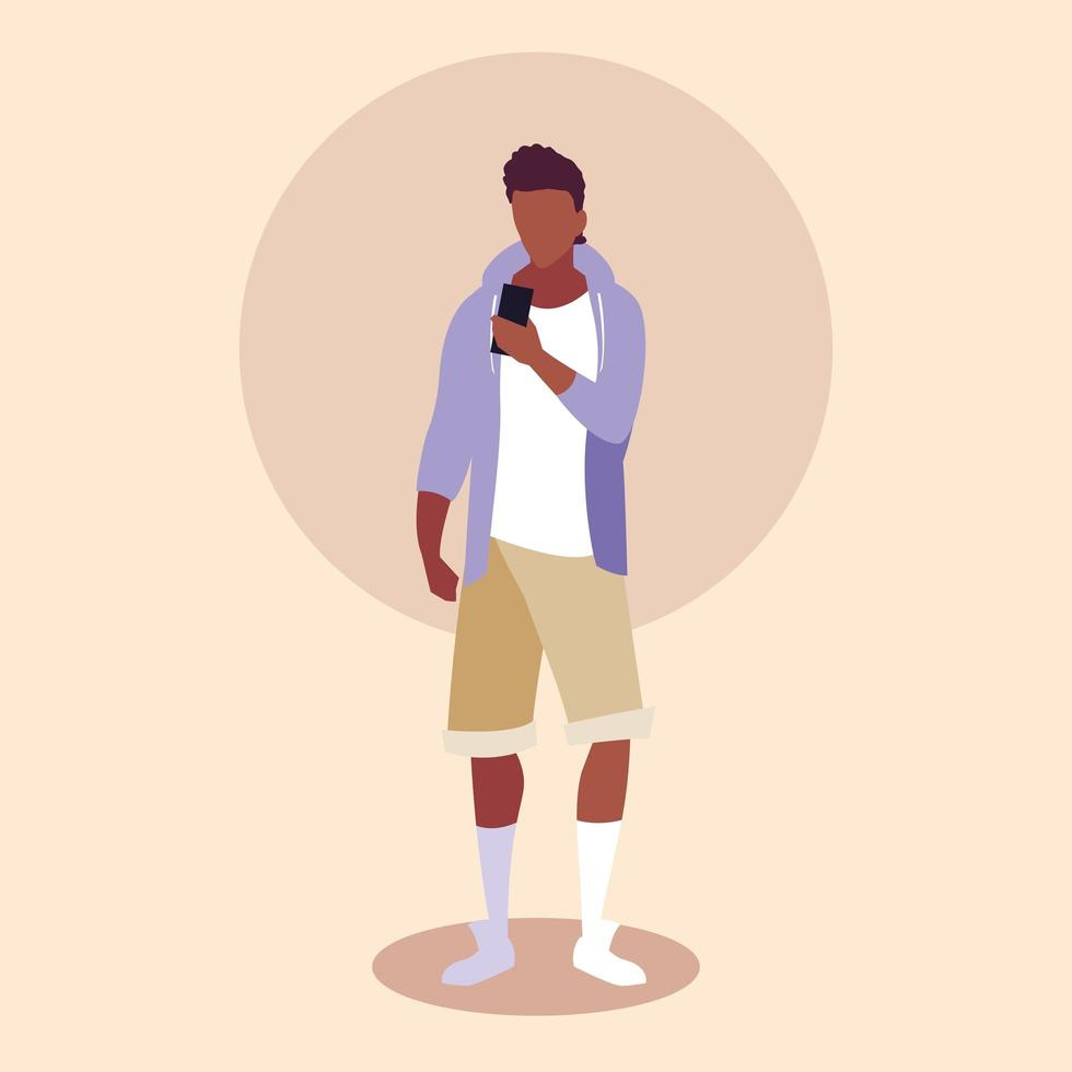 jonge man afro met behulp van smartphoneapparaat vector