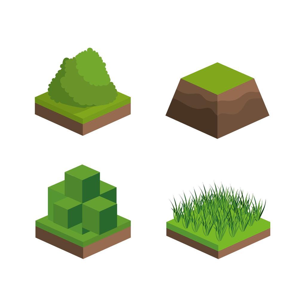 isometrische struiken en gras icon set vector