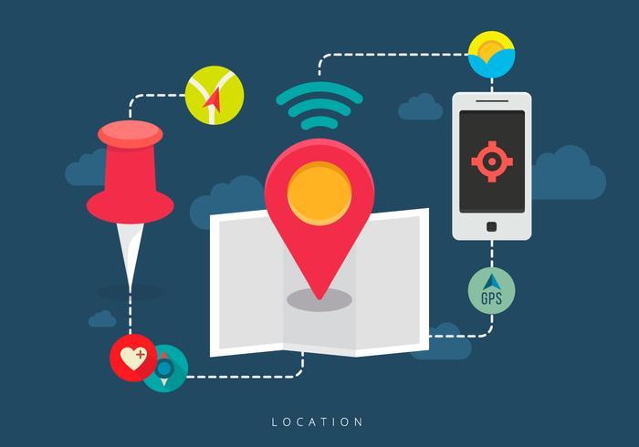 Combineer mobiele locatie vector