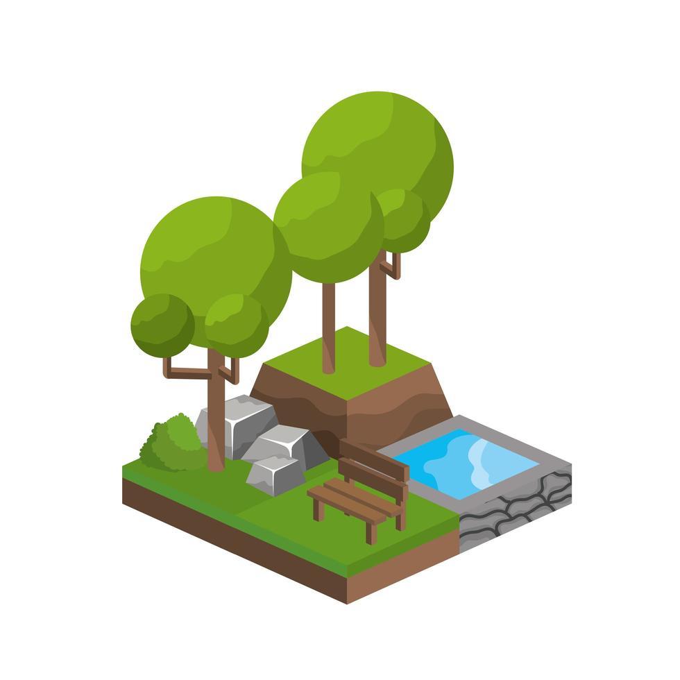 isometrische bomen en waterbronontwerp vector