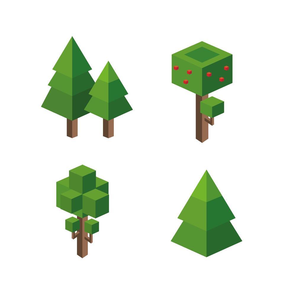 isometrische bomen instellen vector