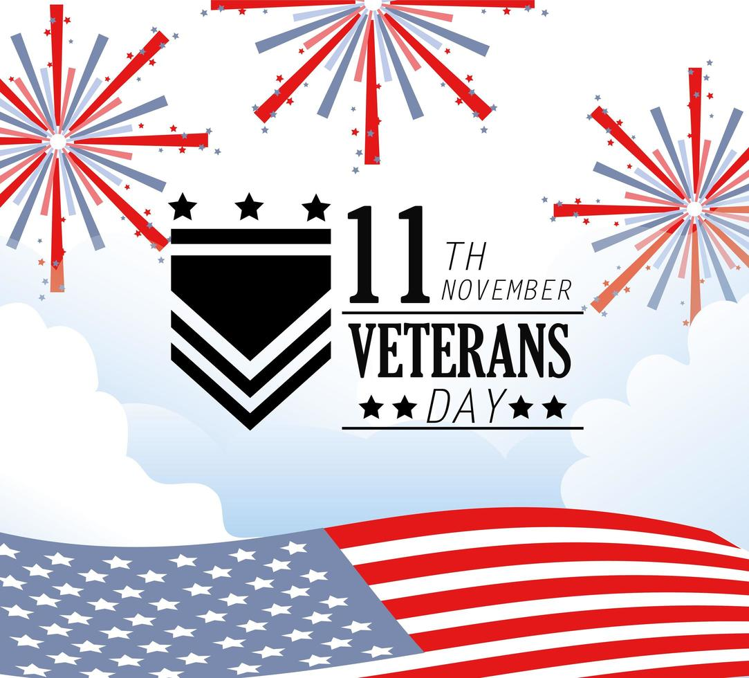 veteranendagviering met vuurwerk en vlag vector