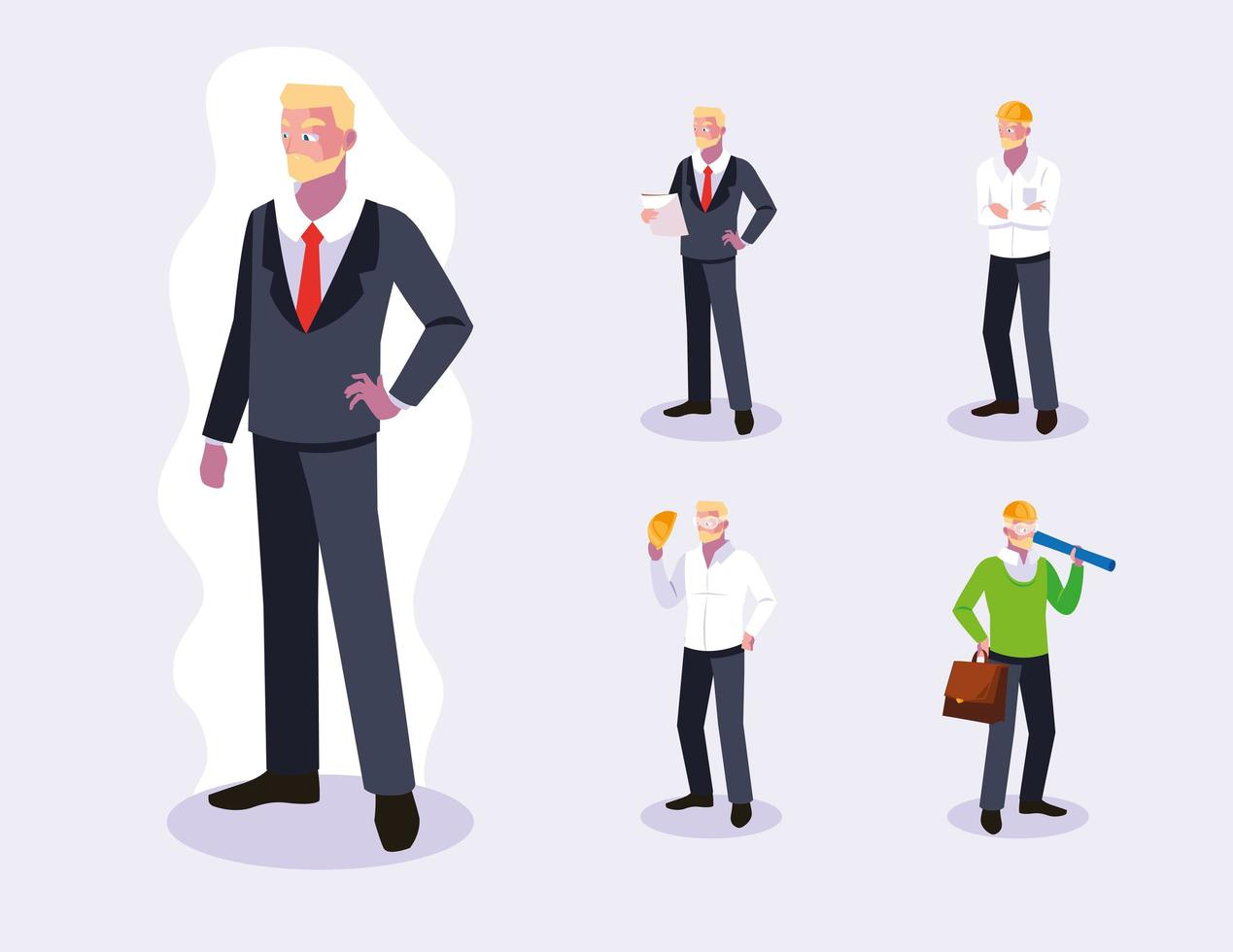 aantal mannelijke professionele werknemers ontwerp vector