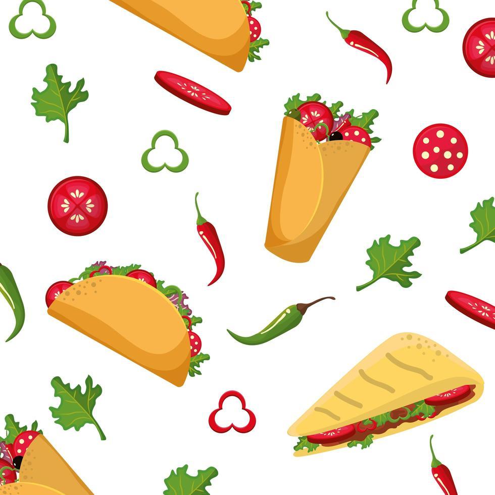 Mexicaans eten patroon ontwerp vector