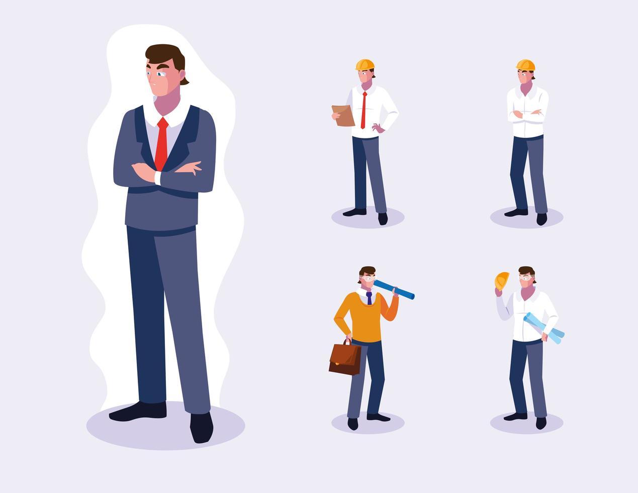 set van professionele mannelijke werknemers ontwerp vector