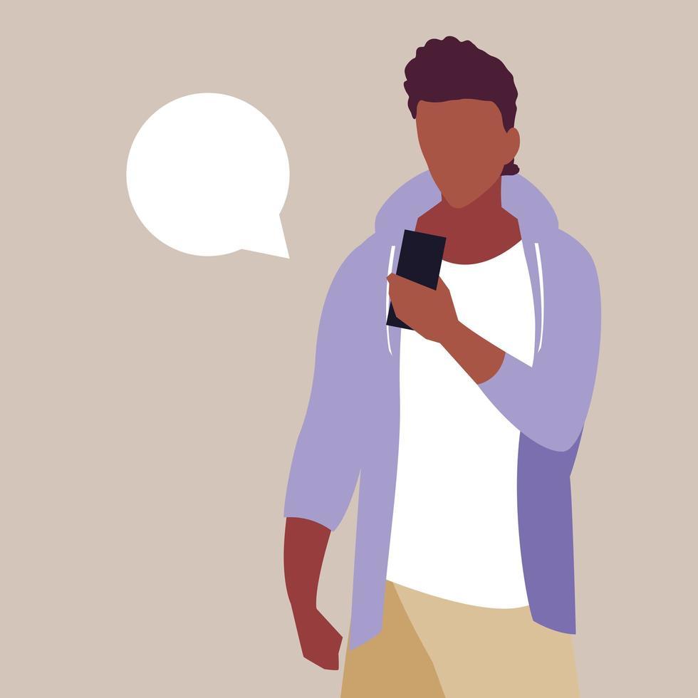 jonge man afro smartphone met tekstballon vector
