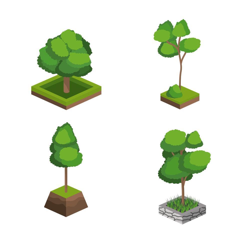 isometrische bomen pictogramserie vector
