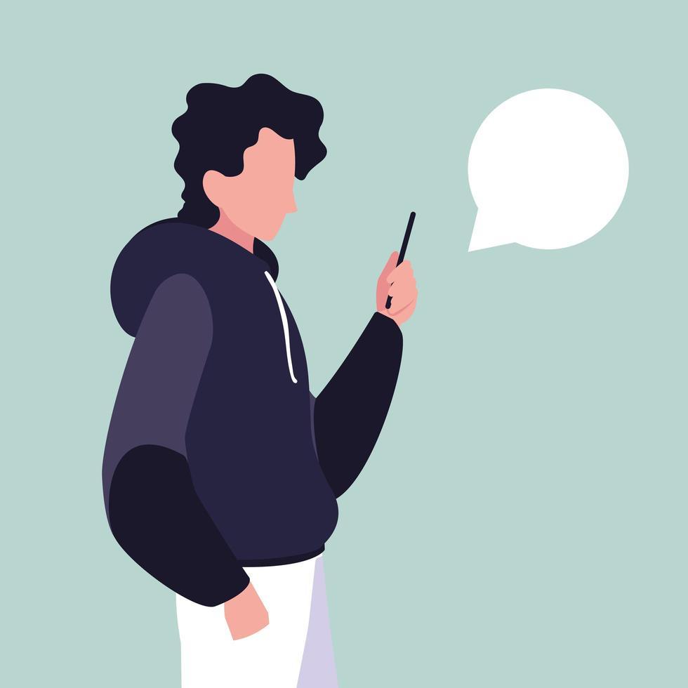 jonge man met smartphone met tekstballon vector